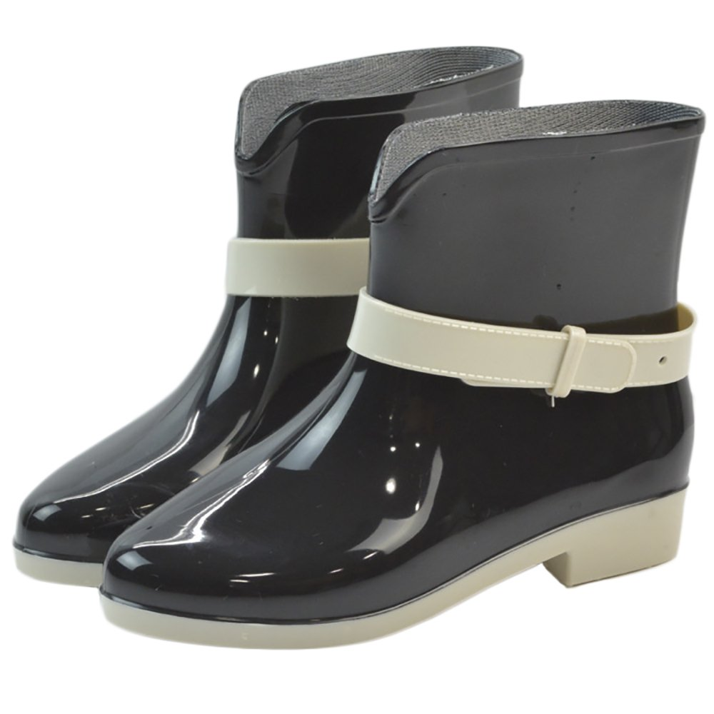 Women's Waterproof Rubber Jelly Anti-Slip Rain Boot Buckle Ankle High Rain Shoes B01J7EXT0M 7.5 B(M) US|Black