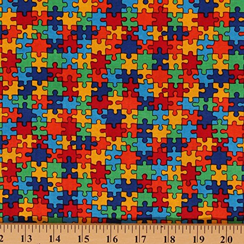 Cotton Puzzle Piece Autism Awareness Multi-Colored Cotton Fabric Print by Yard (C1653)