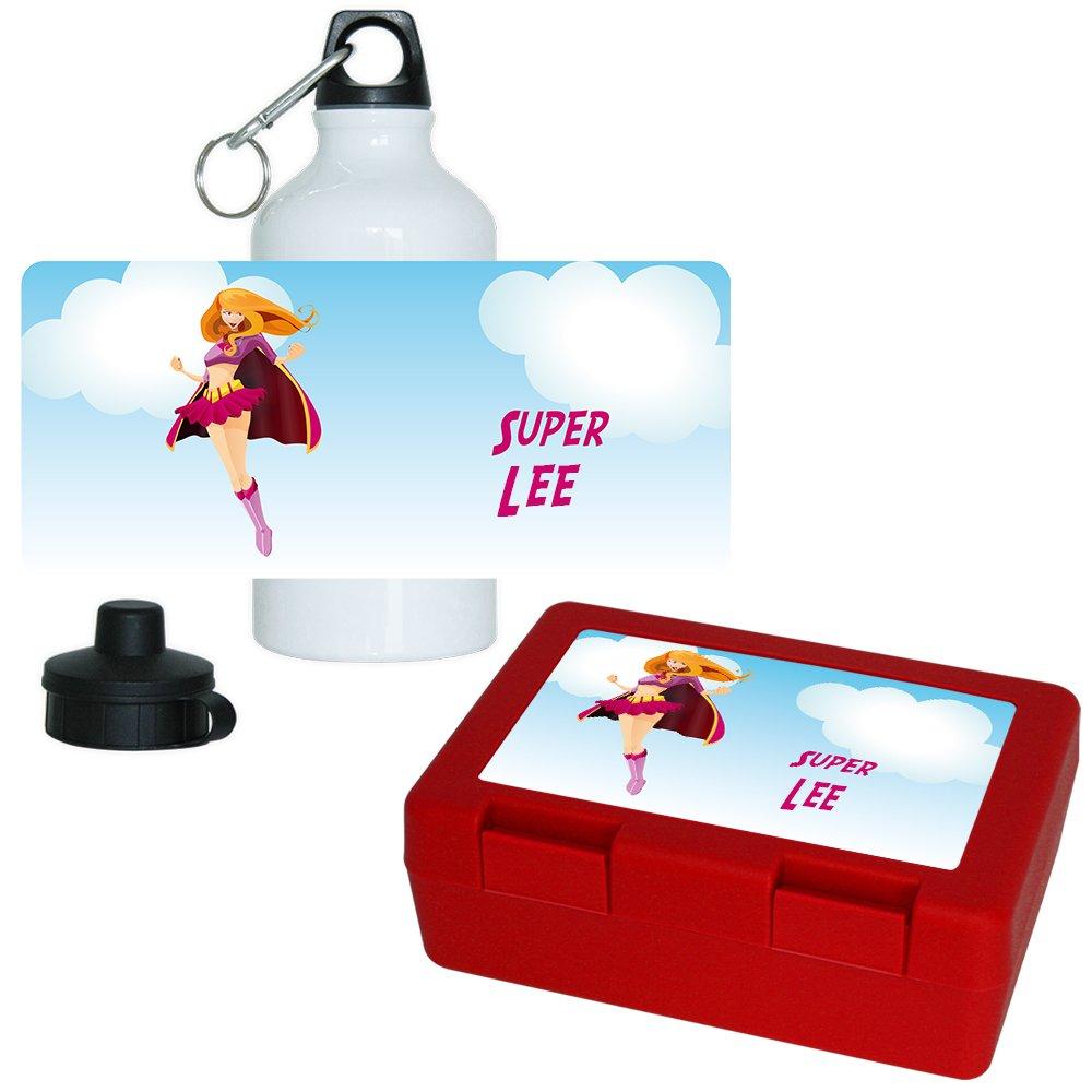 Brotdose + Trinkflasche Set mit Namen Lee und schönem Superheldin-Motiv für Mädchen   Frühstücks-Set für Schule und Kindergarten   Aluminium-Trinkflasche   Lunchbox   Vesper-Box