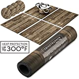 WOOD- Decorative rustic Modular Trivet Runner for Table (4 pcs Placemats) Extendable Hot Pad, X-Long Design with coasters | Heat-Resistant Surface,For Hot Plates, Pots, Dishes, Cookware, Kitchen
