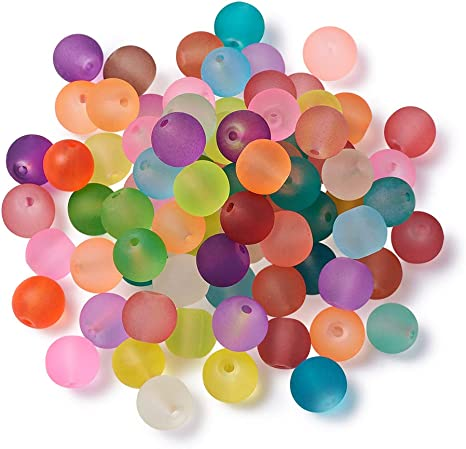 100 BEAUTIFUL HIGH QUALITY MIXED GLASS RAINBOW COLOURS ROUND BEADS 8mm