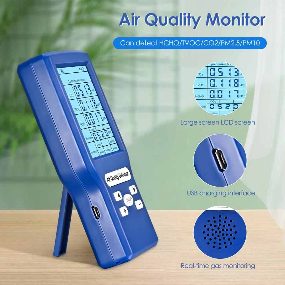 HCHO TVOC ppm TTLIFE Medidor Calidad Del Aire para medidores de CO2 detector de di/óxido de carbono,comprobador de calidad de aire,analizador de gas