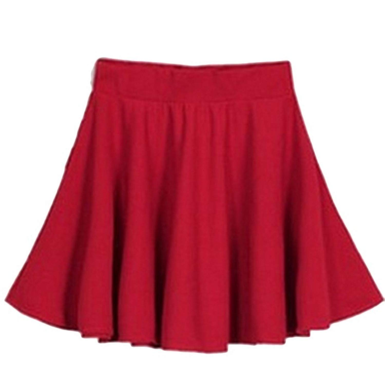 Ladies high Waist Pleated Kawaii Skirts Girls Plain Skater Flared Skirt Large Size Black One Size Superb Zone