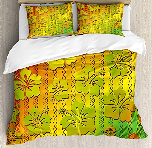 Rasta Duvet Cover 4 Piece Set Hibiscus Exotic Jamaican Island Flower with Zig Zag Lines Print Ultra Soft Microfiber Bedding Set with Zipper Closure & Ties Light Green Red and Marigold (King Size) (The Best Exotic Marigold Hotel 2019)