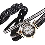 Wrap Around Watch Faux Leather Bling Round Dial