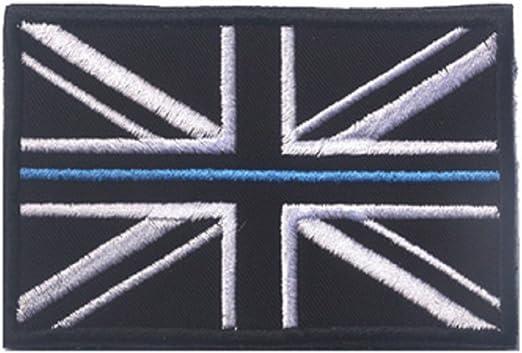 Delgada línea azul Policía de Reino Unido servicio parches de velcro/gancho & loop parches: Amazon.es: Hogar