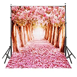 Mohoo 5x7ft Silk Photography Backdrop Cherry blossoms Street Studio Photography Backdrop Photo Background Beautiful Flower 1.5x2.1m (Updated Material)