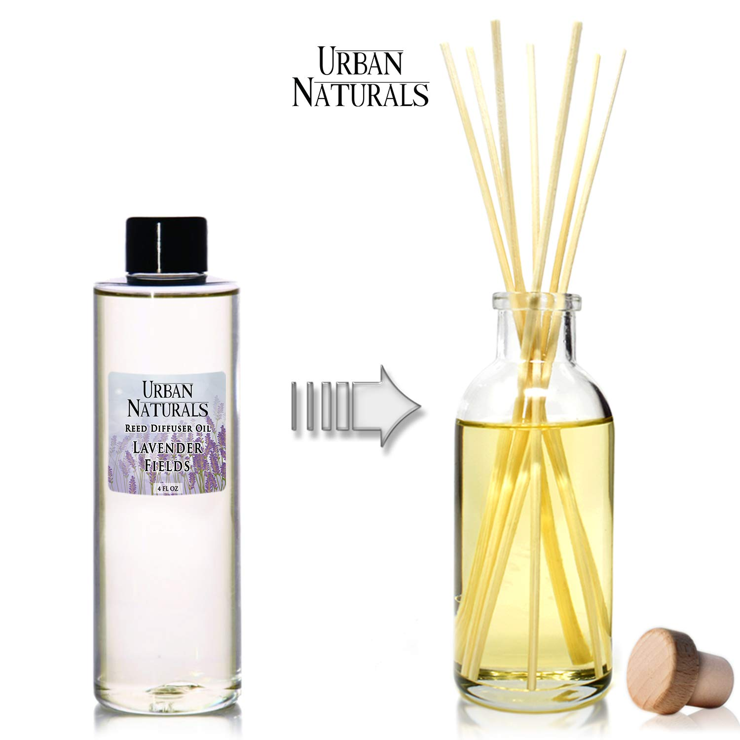 Urban Naturals Lavender Fields Essential Oil Reed Diffuser Refill & Set of Replacement Reed Sticks | Soothing, Aromatic Home Fragrance for Aromatherapy & Stress Relief | Includes a Set of Reed Sticks by Urban Naturals (Image #4)