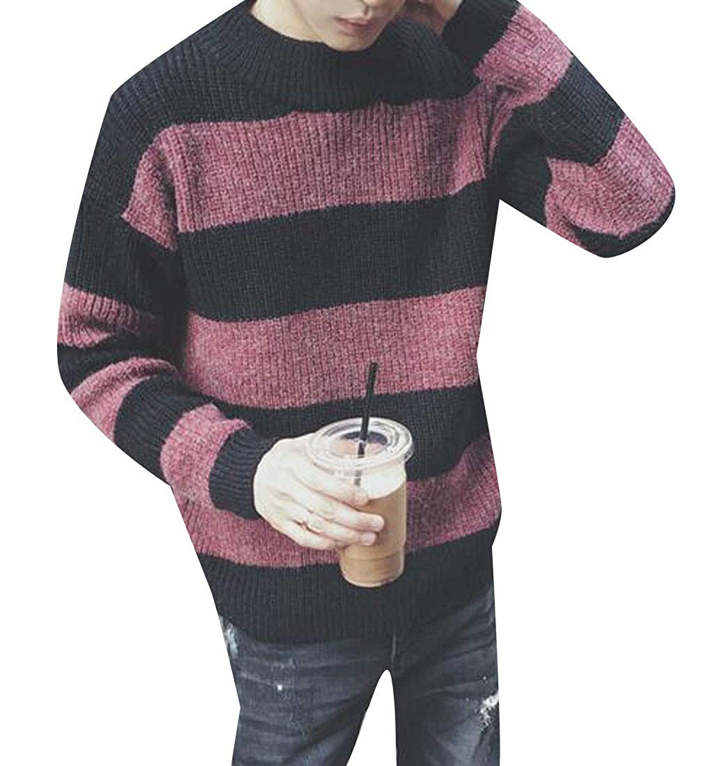 YUELANDE Men Thick Color Block Crewneck Pullover Long Sleeve Stripe Sweater