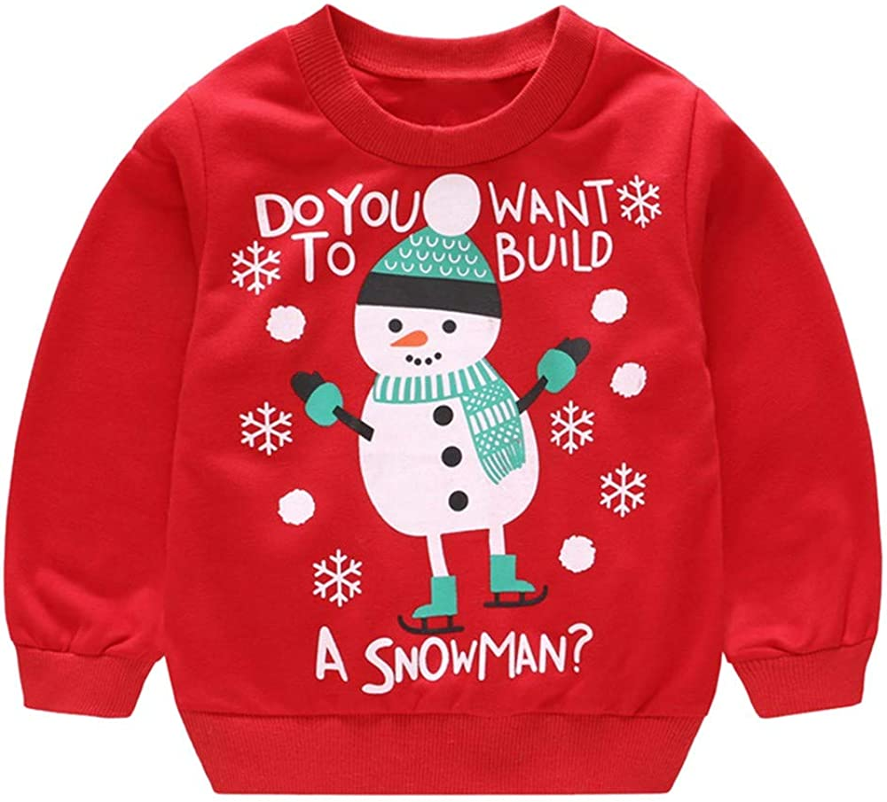 Clode for 0-4 Years Old Cute Baby Girls Boys Long Sleeve Deer SnowmenPrint Pullover Tracksuit Sweatshirt T-Shirt Tops Winter Christmas Clothes