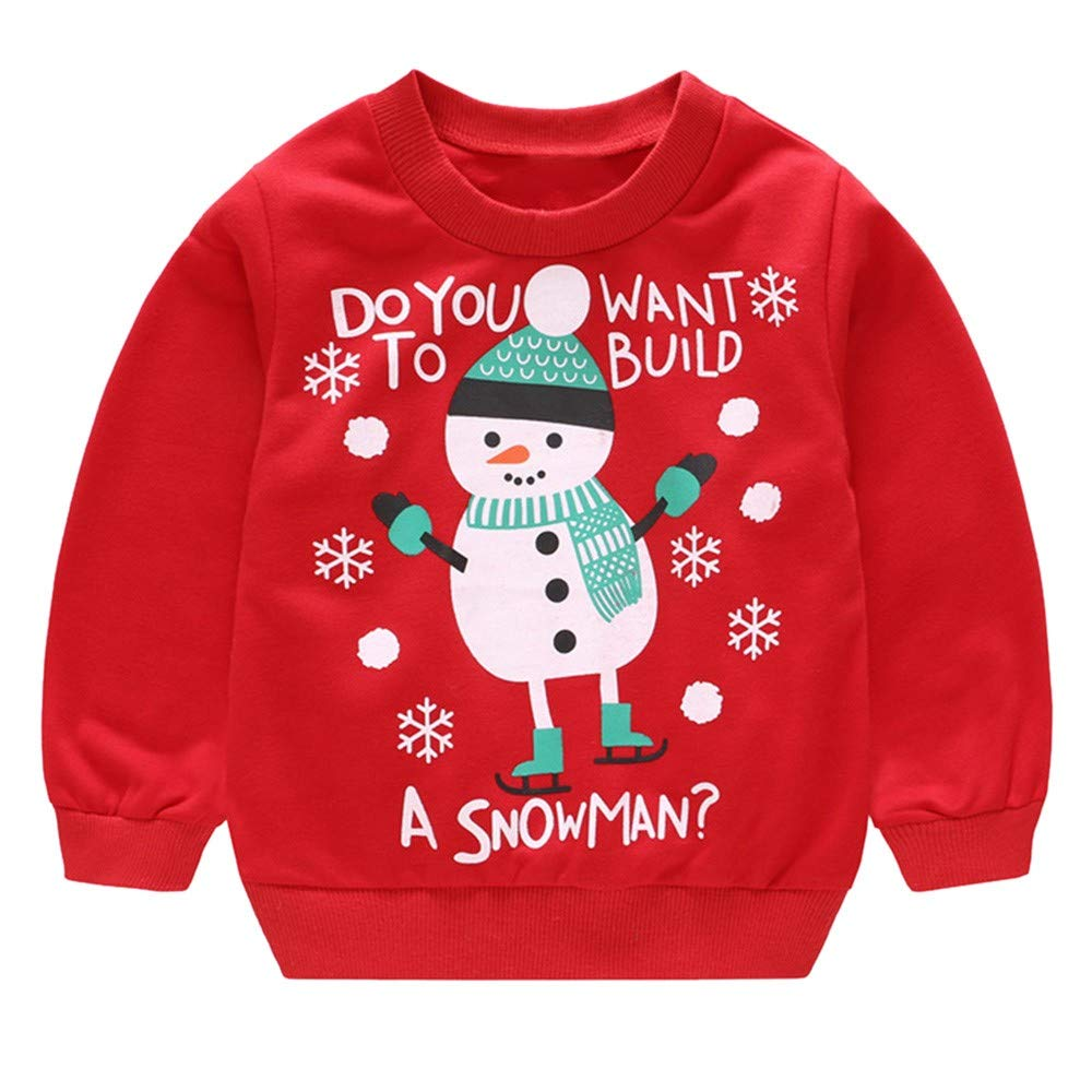 Amazon.com: Iuhan Baby Christmas Tops Outfit for 1-4Years Boys Girls, Toddler Girl Boy Long Sleeve Cartoon Christmas Santa Elk Snowman Print Pullover Tops ...