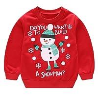 Webla(TM) Enfants Bébé Filles Garçon Hauts,Unisexe Bambin Mignon Manches Longue Tops Cartoon Noël Imprimés Pull Tee T-Shirt Chemise Vêtements pour 1-4Ans