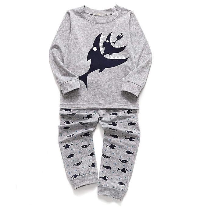 Bebés de Ropa Encantadora, YpingLonk Estampado Tiburon Manga Larga Juego de Ropa Camisas y Pantalones
