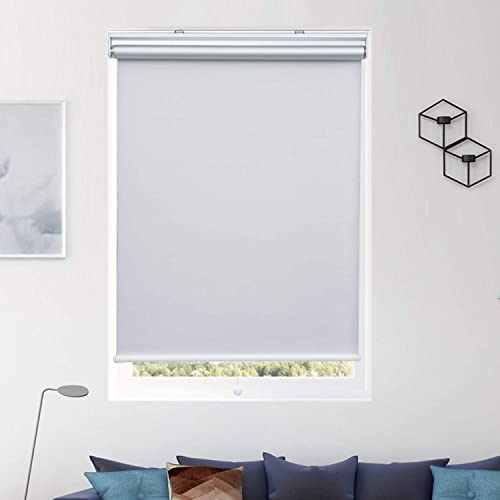 Donutse Blackout Roller Shades and Blinds for Window and Door Spring Systerm Design Cordless Shades for Home and Office, White, 30 W x 72 H