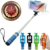 Elevea Mini Wire Controlled Rainbow Selfie Stick for All Smartphone & Ios device-Assorted colour (1 year warranty)