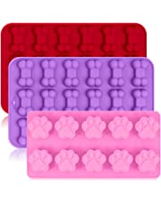 3 Pack Silicone Ice Molds Trays with Puppy Dog Paw and Bone Shape FineGood Reusable Bakeware Maker for Baking Chocolate Candy Oven Microwave Freezer Dishwasher Safe - Pink Red Purple
