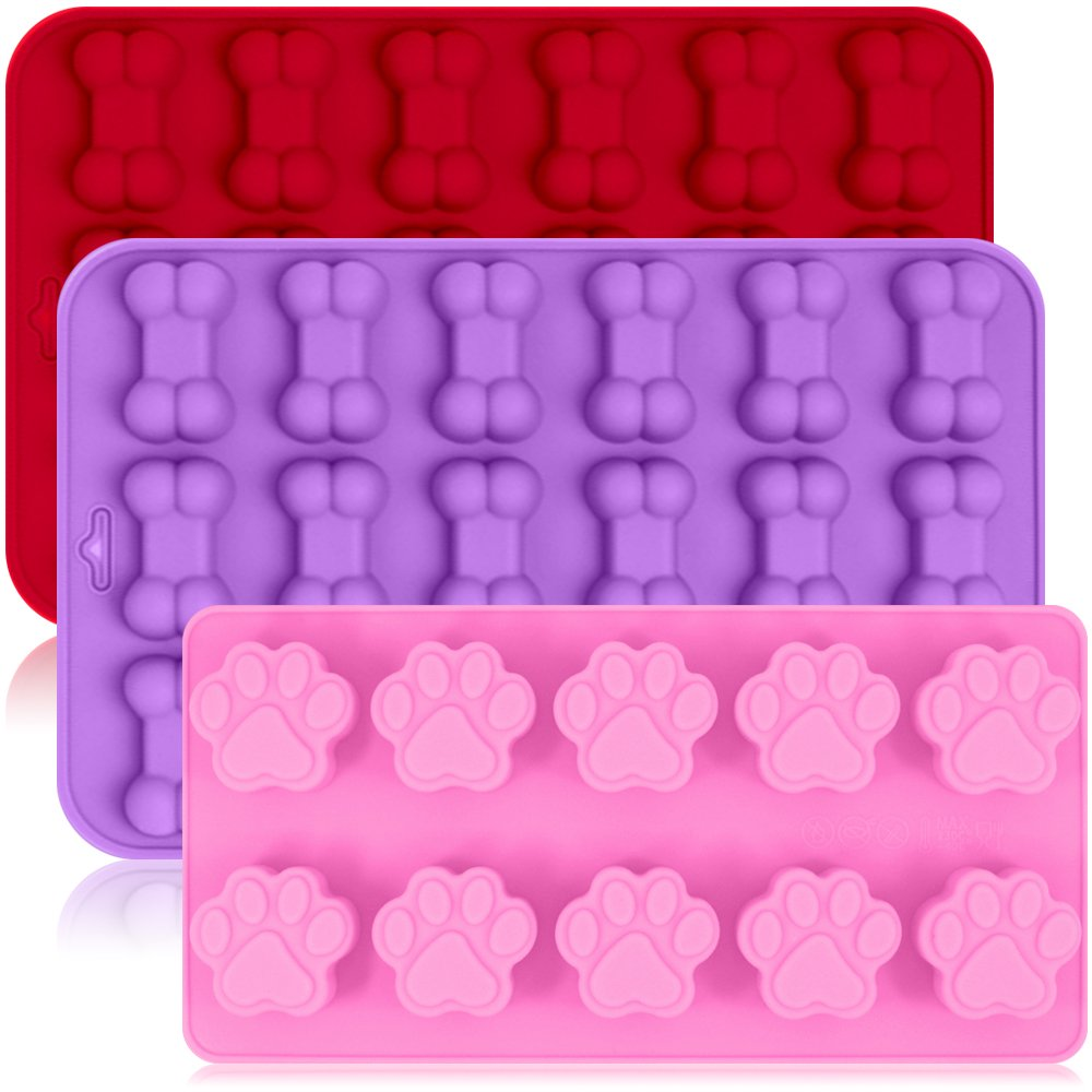 3 Pack Silicone Ice Molds Trays with Puppy Dog Paw and Bone Shape, FineGood Reusable Bakeware Maker for Baking Chocolate Candy, Oven Microwave Freezer Dishwasher Safe - Pink, Red, Purple