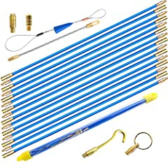 WXTOOLS Blue Fiberglass Rod Fish Tape Kit -Your best choice for running wire through walls, attics, crawl spaces, sub-floors and suspended ceilings, and installing cable. -It is easy to connect, push&pull, store, which is very convenient ...