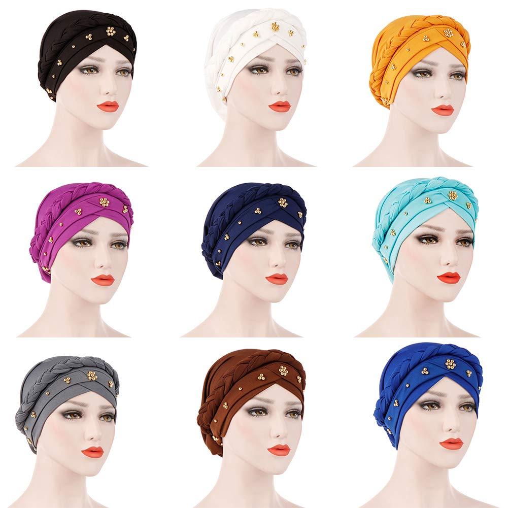BrawljRORty Muslim Scarf Wraps - Solid Color Braid Beads Decor Women Muslim Hijab Turban Head Scarf Cap Hat by BrawljRORty (Image #3)