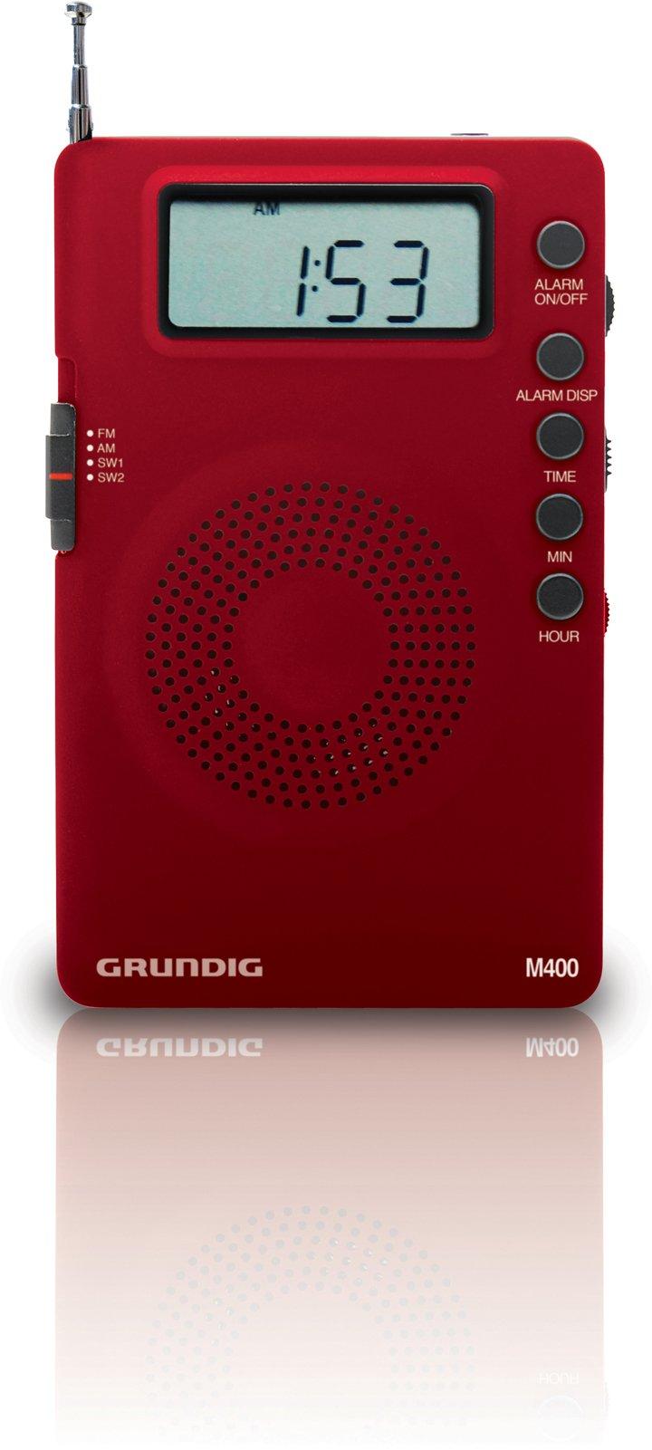 Eton Grundig M400 Super Compact – Goes Everywhere - AM/FM/Shortwave Digital Radio - Red (NGM400R)