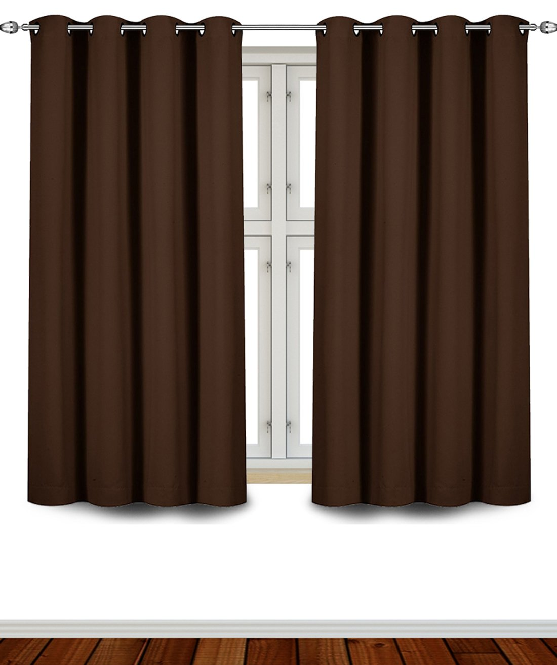 Utopia Bedding Grommet Top Thermal Insulated Blackout Curtains, 2 Panels, 52 x 63 Inch, Chocolate