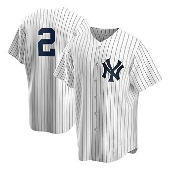 Camiseta de béisbol de los Yankees n. ° 2 para Hombres, Camiseta de Manga Corta para Adultos con Camiseta con Botones Abotonada S-3XL- Gray-S: Amazon.es: Ropa y accesorios