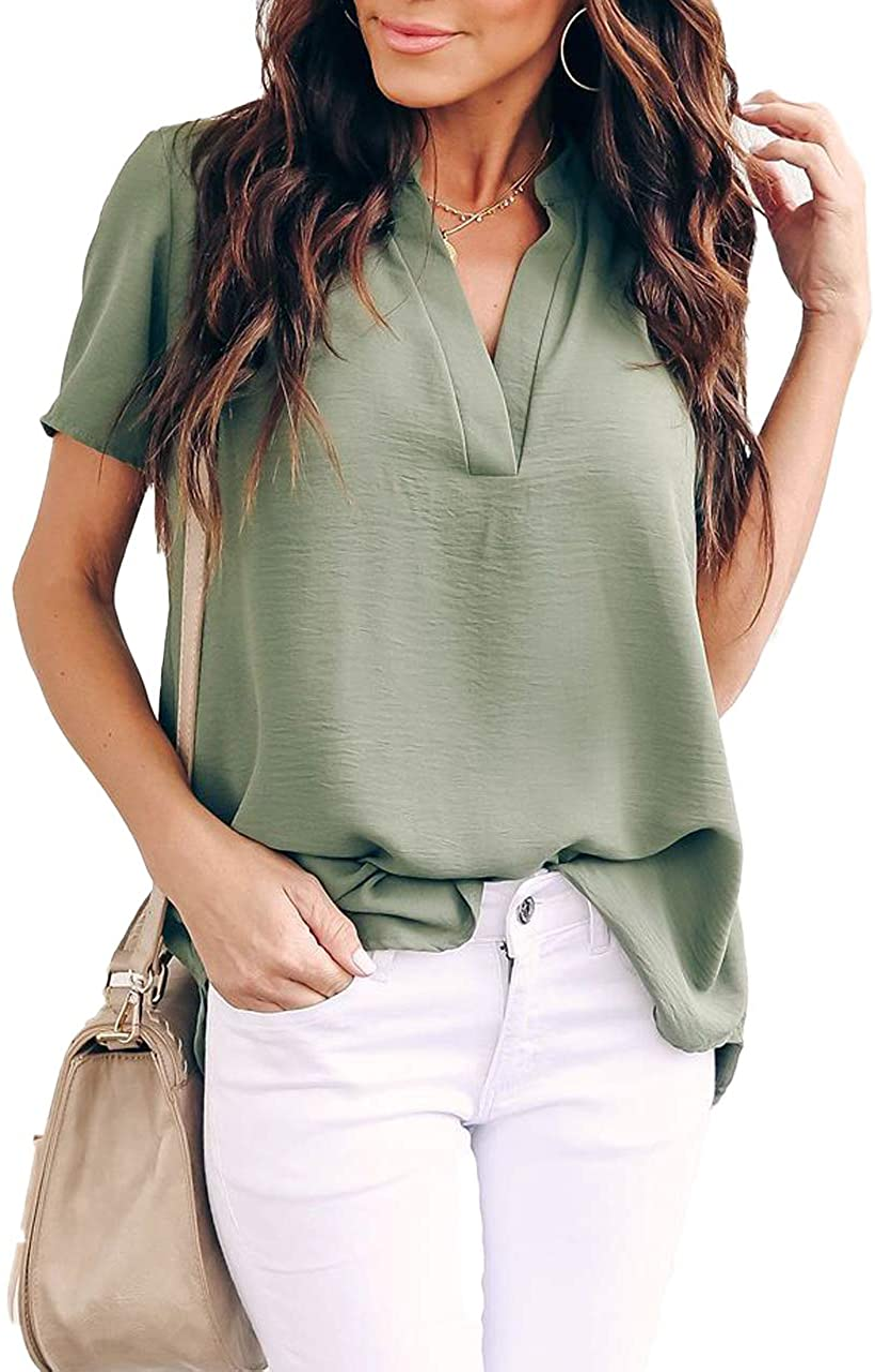 Allimy Women Summer Casual Split V Neckline Chiffon Blouses Loose Tunic Short Sleeve Tops