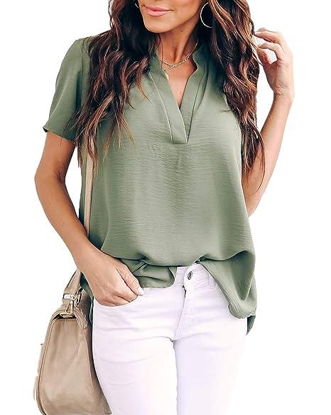 7cff723343d Allimy Women Summer Short Sleeve Shirt Juniors Tunic Tops for Leggings Chiffon  Blouses Army Small