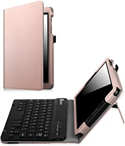 Fintie Keyboard Case for Samsung Galaxy Tab E 8.0, Slim Fit Folio PU Leather Case with Detachable Magnetical Bluetooth Keyboard for Galaxy Tab E 32GB SM-T378/Tab E 8.0 SM-T375/T377, Rose Gold
