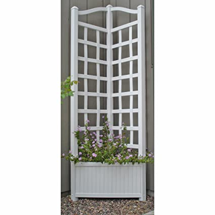 5.5 Foot Outdoor Triangle Vinyl Oxford Corner Planter With Trellis