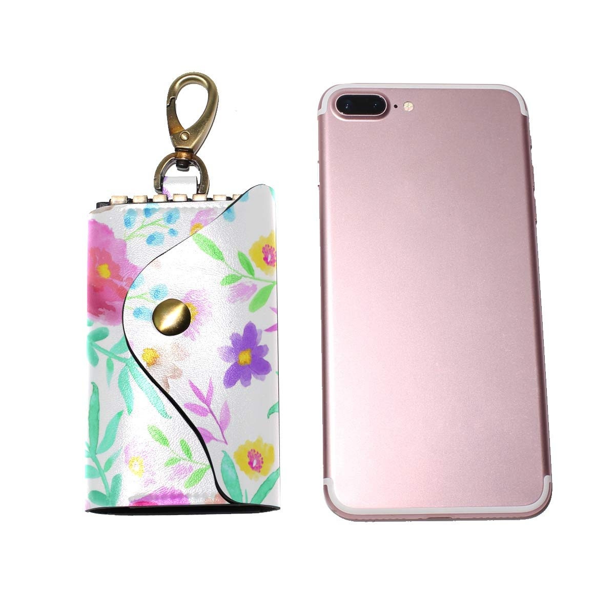 KEAKIA Watercolor Flower Leather Key Case Wallets Tri-fold Key Holder Keychains with 6 Hooks 2 Slot Snap Closure for Men Women