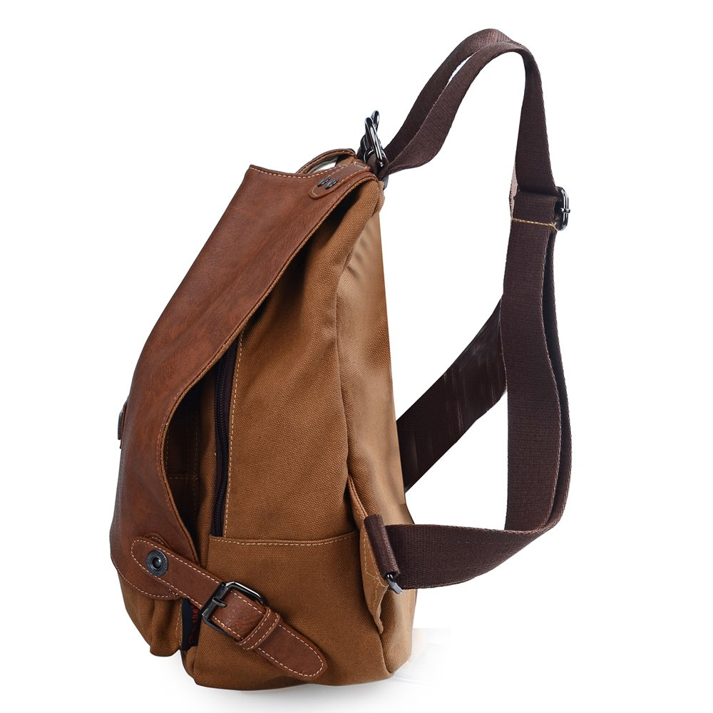 a40cea4125b3 Amazon.com  DGY Women s Canvas Leather Fashion Travel Backpack Rucksack  Leather Backpack Purse for Girls G55806 Camel  Shoes