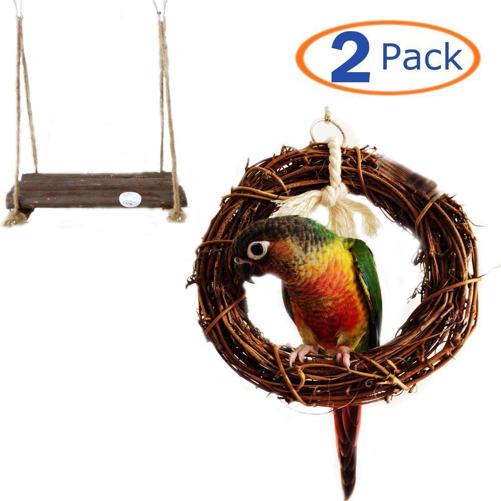 Parrot Toys Bird Hanging Toy Bird Swing Bird Chewing Toy Bird Hammock Swing for Cockatiels Wood Bird Swing Bird Platform Swing Rattan Hoop Chew Toy for Birds Hamiledyi