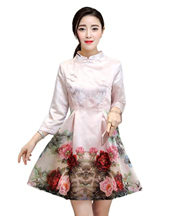 93705f4ecf5 Women  Vintage Embroidery Chinese Traditional Cheongsam Dress (XL ...