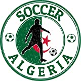 Algeria Flag Soccer Grunge Rubber Stamp Home Decal Vinyl Sticker 12'' X 12''