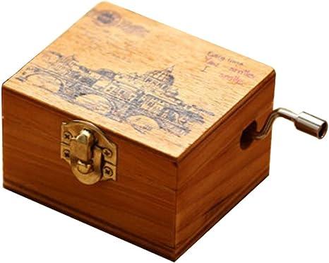 Main en bois manivelle et la bo/îte /à musique 18 m/écanisme Bo/îte /à Musique en Bois Sculpt/é /à manivelle Antique pour Enfants Anniversaire//No/ël