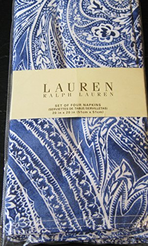 Set of 4 Ralph Lauren Veranda Paisley/ Blue Dinner Napkins 20