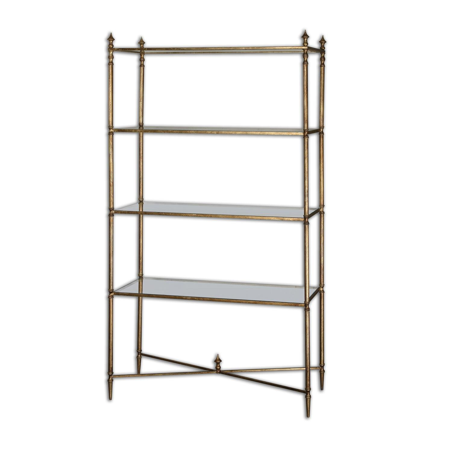 62'' Collier Antiqued Gold Leaf & Tempered Glass Etagere Display Shelves