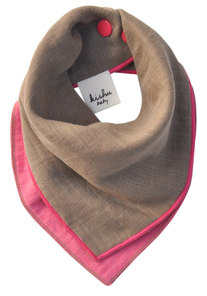 Luxuriously Soft Baby Bandana Drool Bib for Girls, Handmade in USA, Reversible Pink Khaki