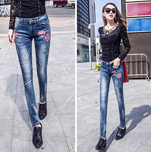 Caldi Elegante Pantaloni Signore Estate Dexinx Slim Denim Blu1 Strappati Charme Magro Jeans Outdoor POg5wq
