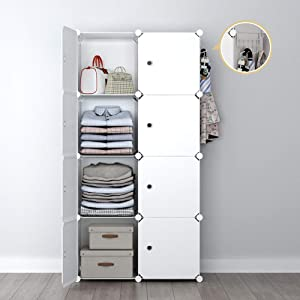 YOZO Portable Closet Wardrobe Cube Modular Dresser Garment Clothes Rack Polyresin Storage Organizer Bedroom Armoire Cubby Shelving Unit Dresser Multifunction Cabinet DIY Furniture, White, 8 Cubes