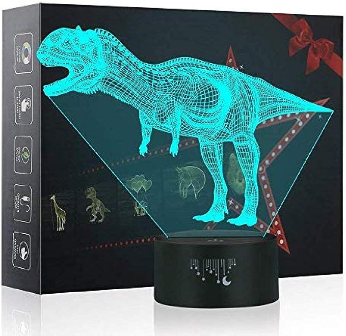 Lámpara Dinosaurio 3d Ilusión LED Luz nocturna 7 Cambio de color Mesa táctil Lámparas de escritorio con plano de acrílico y base ABS y cable USB para un regalo impresionante Velociraptor-2 Usb