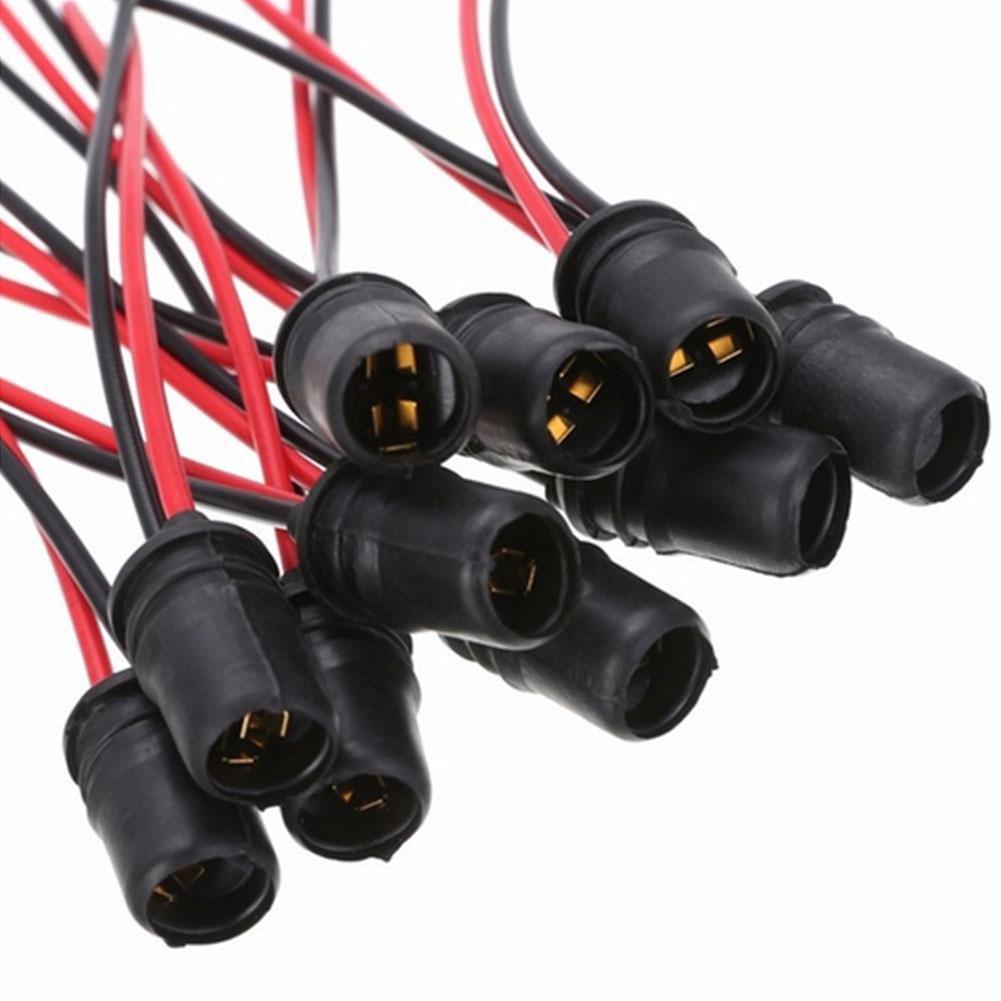 RUNGAO 10 piezas Negro Rojo W5W T10 Bombilla Socket Soportes para Coches Camiones Barcos Suave Conector de Goma Extensió n Accesorios