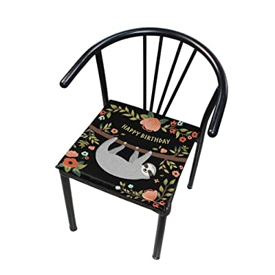 """Bardic HNTGHX Outdoor/Indoor Chair Cushion Funny Sloth Flower Square Memory Foam Seat Pads Cushion for Patio Dining, 16"""" x 16"""": Home & Kitchen"""