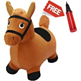 Brown Hopping Horse, Activity Toy, Outdoors Ride On Bouncy Animal Play Toys, Inflatable Hopper Plush Covered with Pump, Activities Gift For 2, 3, 4, 5 Year Old Kids Toddlers Boys Girls - iPlay, iLearn