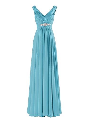 Yougao Women's V Neck A-Line Chiffon Long Floor Length Evening Dress Gown
