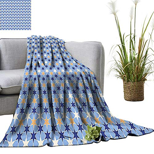 YOYI Travel Blanket Chain Stars Pattern Traditional Colors Galaxy Cosmic Tile Dark Blue Light Blue Apricot Easy to Carry Blanket 50