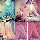 Kids Mosquito Net Dreamlike Children Room Round Lace Dome Bed Canopy Bed Valance Tent Mosquito Net with Stars and Butterfly Netting Curtains Baby Boys and Girls Games House