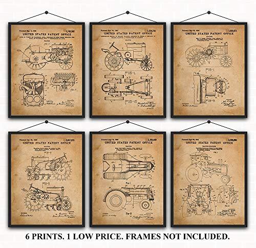 John Deere Tractors Patent Prints Set of 6 Wall Art Decor for under $20.00
