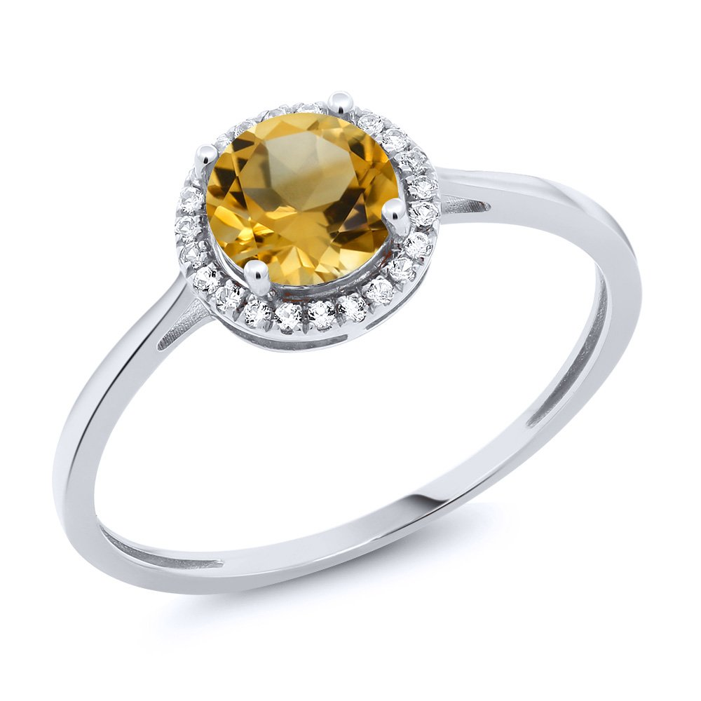10K White Gold Diamond Engagement Ring Round Yellow Citrine (0.92 cttw, Size 7)